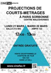 Affiche Projection Nouveaux Cinémas à l'Université Paris Sorbonne Centre Malesherbes 21 et 22 mars 2016