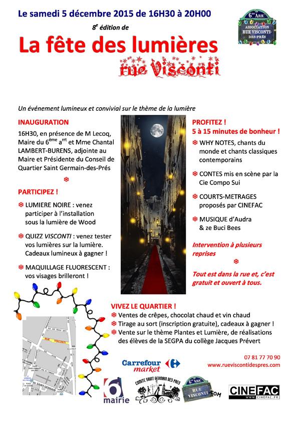 Affiche Fête des Lumières Rue Visconti 2015